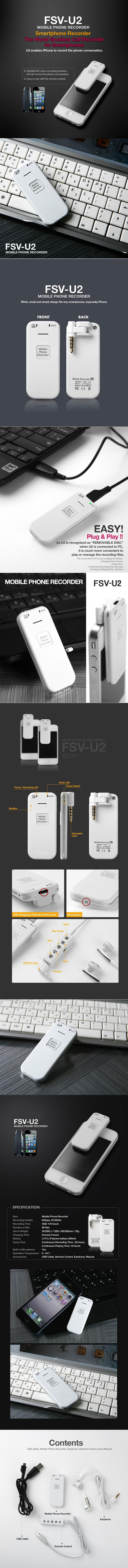 Professional Mobile Phone Recorder Fsv U2 Telephone Record Control Compatible With Any Smartphones